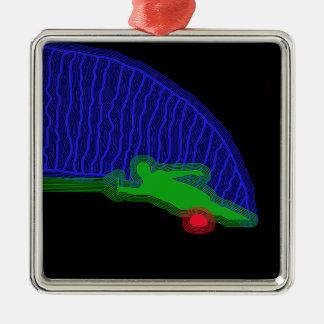 Slalom-Wasser-Skifahrer-Neon-Spray Silbernes Ornament