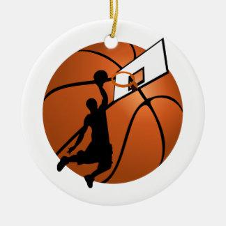 Slam Dunk-Basketball-Spieler w/Hoop auf Ball Keramik Ornament