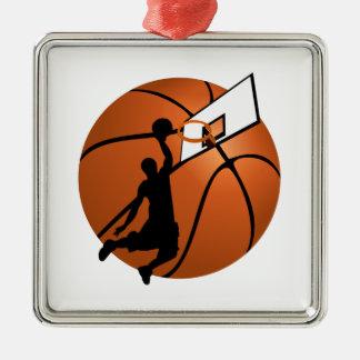 Slam Dunk-Basketball-Spieler w/Hoop auf Ball Silbernes Ornament