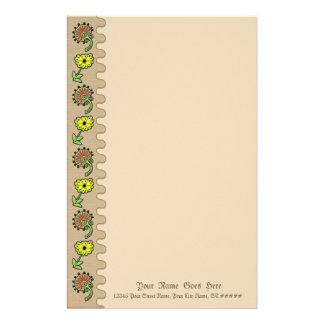 Slavic gestickte Blumen auf TAN Büropapier