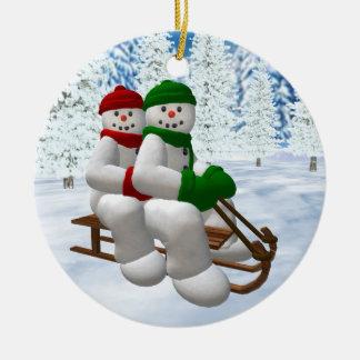 Sledding Vintage Snowmen Weihnachtsbaum Ornamente