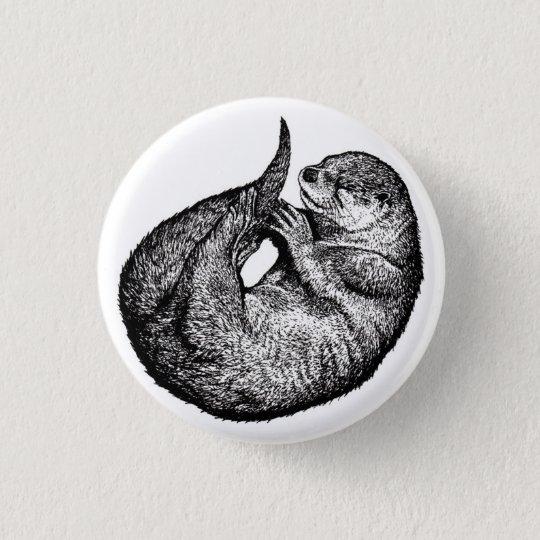 sleeping otter runder button 3,2 cm