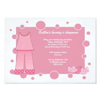 Sleepover-Einladung rosa PJS 12,7 X 17,8 Cm Einladungskarte