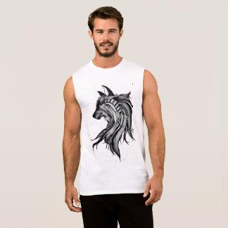 Sleeveless schwarze u. weiße Magie-Wolf Ärmelloses Shirt