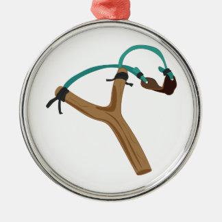 Slingshot Rundes Silberfarbenes Ornament