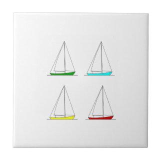 Sloop Segelboot-Logo (Farbe) Keramikfliese