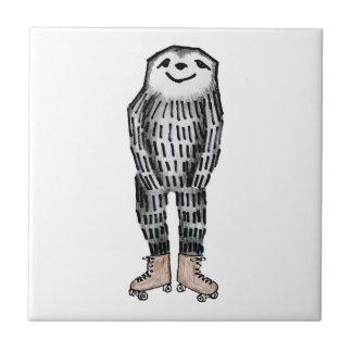 Sloth auf Rollen-Skaten Fliese