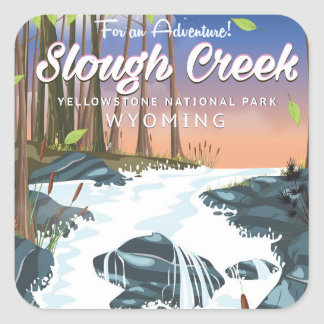 Slough-Nebenfluss, Yellowstone Nationalpark Quadratischer Aufkleber