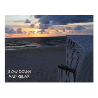 Slow down and relax - Strand beach Sonnenuntergang Postkarte