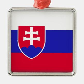 Slowakei-Flagge Quadratisches Silberfarbenes Ornament