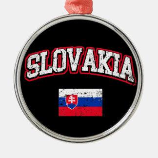 Slowakei-Flagge Rundes Silberfarbenes Ornament