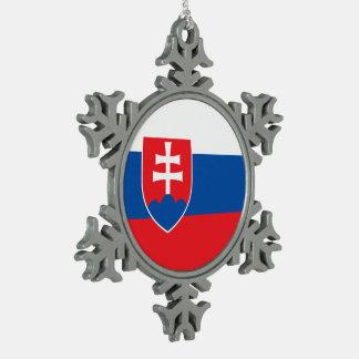 Slowakei-Flagge Schneeflocken Zinn-Ornament