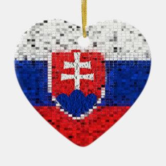 Slowakei-Flaggen-Glitterverzierung Keramik Herz-Ornament