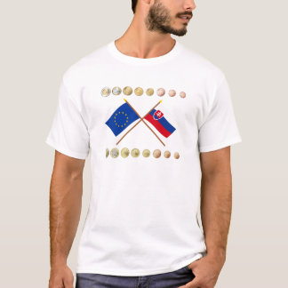 Slowakische Euros und EU- u. Slowakei-Flaggen T-Shirt