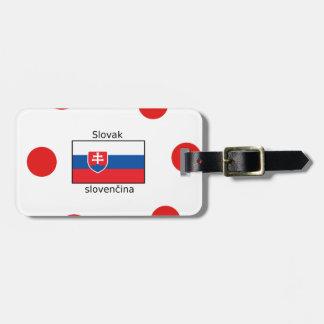 Slowakische Sprache und Slowakei-Flaggen-Entwurf Kofferanhänger