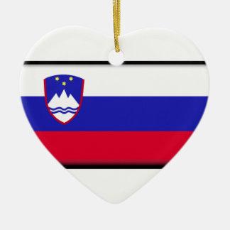 Slowenien-Flagge Keramik Herz-Ornament