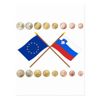 Slowenisch Euros und EU- u. Slowenien-Flaggen Postkarte