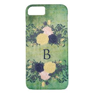 Smaragd, Vintages Rosen-Monogramm iPhone 8/7 Hülle