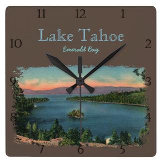 Smaragdbucht-Lake- Tahoegewohnheit Quadratische Wanduhr