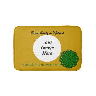 Smaragdgrün-Blumen-Band-Schablone Badematte