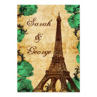 Smaragdgrün-Eiffelturm Paris-Hochzeit laden ein Karte