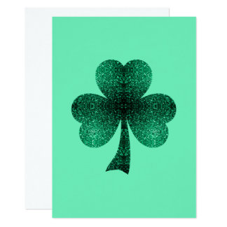 Smaragdgrün-Glitzern-Kleeblatt-Klee-Einladung Karte