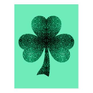 Smaragdgrün-Glitzern-Kleeblatt-Kleetürkis Postkarte
