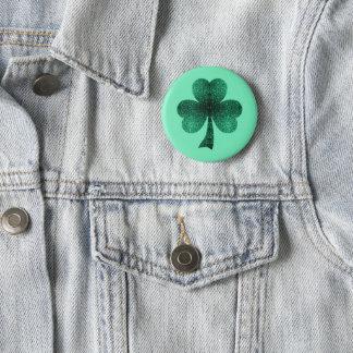Smaragdgrün-Glitzern-Kleeblatt-Kleetürkis Runder Button 5,1 Cm