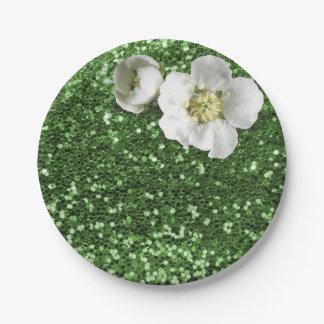 Smaragdgrün-Grün-weißer Jasmin-Glitter Pappteller