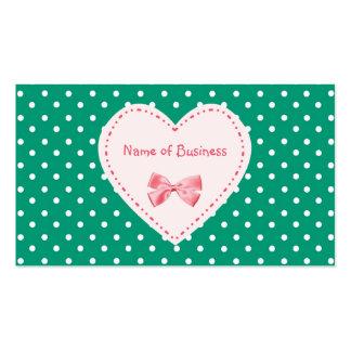 Smaragdgrün-Herz-Handelsname Visitenkartenvorlage