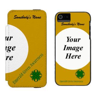 Smaragdgrün-Klee-Band-Schablone Incipio Watson™ iPhone 5 Geldbörsen Hülle