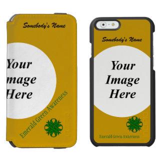 Smaragdgrün-Klee-Band-Schablone Incipio Watson™ iPhone 6 Geldbörsen Hülle
