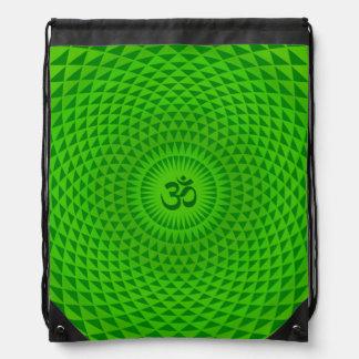 Smaragdgrün-Lotos-Blumen-Meditationsrad OM Turnbeutel