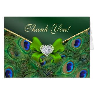 Smaragdgrün-Pfau danken Ihnen zu kardieren Karte