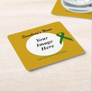 Smaragdgrün-Standardband-Schablone Rechteckiger Pappuntersetzer