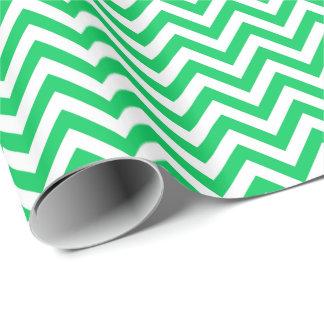 Smaragdgrün, weißes großes Zickzack Geschenkpapier