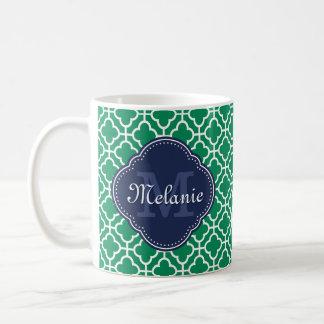 Smaragdgrün-weißes marokkanisches kaffeetasse