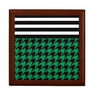 SmaragdHahnentrittmuster mit Streifen 2 Erinnerungskiste