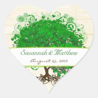 Smaragdherz-Blatt-Baum-Scheunen-hölzernes Herz-Aufkleber