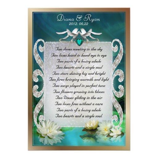 Smaragdtauben-Gedicht-Andenken des meerzwei Ankündigungskarte