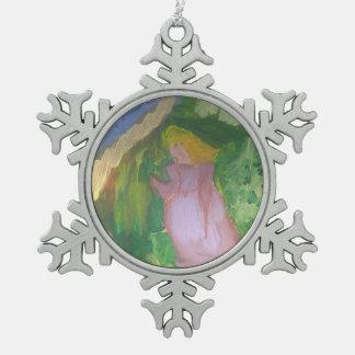 """Smeraldo Galerie"""" Mademoiselle Gachet im Garten Schneeflocken Zinn-Ornament"""