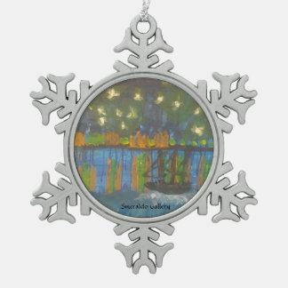 """Smeraldo Galerie """" sternenklare Nacht auf der Schneeflocken Zinn-Ornament"""