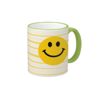 Smiley auf sonnigen gelben Streifen Kaffee Haferl