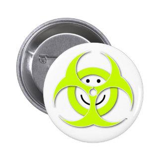 Smiley-Biogefährdung-Knopf Runder Button 5,1 Cm