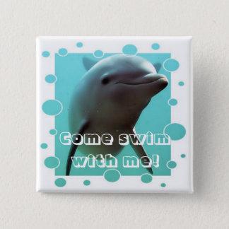 Smiley der Delphin! Quadratischer Button 5,1 Cm