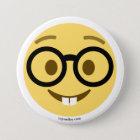Smiley Emoji Nerd mit Brille und Hasenzähnen Runder Button 7,6 Cm