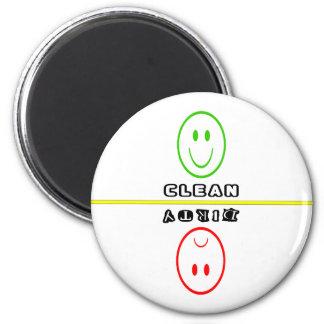 Smiley/Frowny stellen die sauberen/schmutzigen Runder Magnet 5,7 Cm