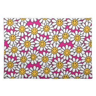 Smiley-Gänseblümchen-Blumen-Muster-Rosa-Gelb Stofftischset