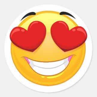 Smiley im Liebe Emoji Klassiker-Aufkleber Runder Aufkleber
