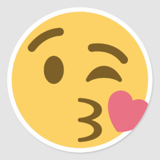 Smiley Kiss Emoji Runder Aufkleber